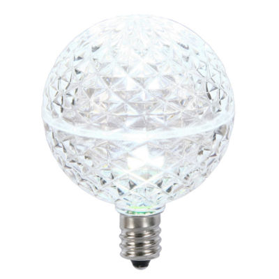 Club Pack of 25 LED G50 Cool White Replacement Christmas Light Bulbs - E12 Base
