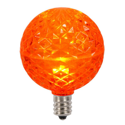 Club Pack of 25 LED G50 Orange Replacement Christmas Light Bulbs - E12 Base