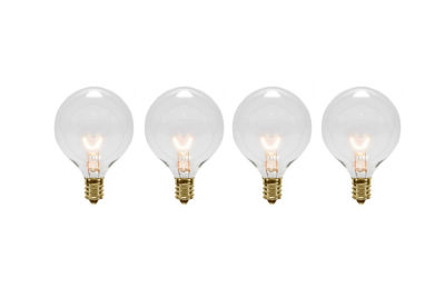 Pack of 4 Transparent Clear G50 Globe Christmas Replacement Bulbs