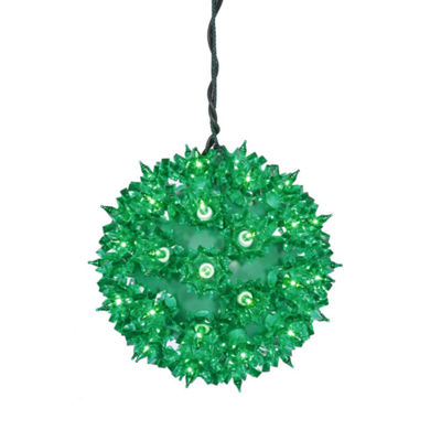 "6"" Green Lighted Starlight Hanging Sphere Christmas Ball Decoration"""
