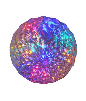 "6"" Multi-Color LED Lighted Hanging Christmas Crystal Sphere Ball Outdoor Decoration"""