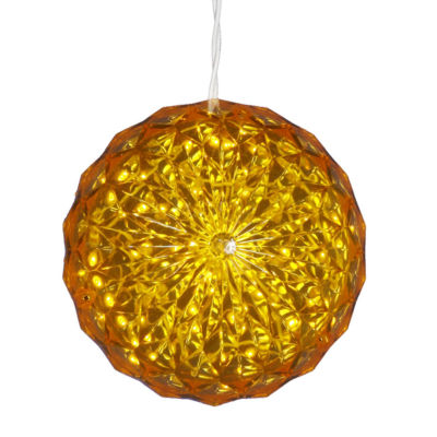 """6"""" Yellow LED Lighted Hanging Christmas Crystal Sphere Ball Outdoor Decoration"""""""