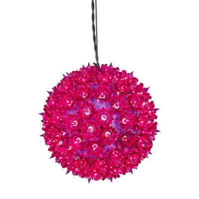 "7.5"" Fuchsia Lighted Hanging Star Sphere Christmas Decoration"