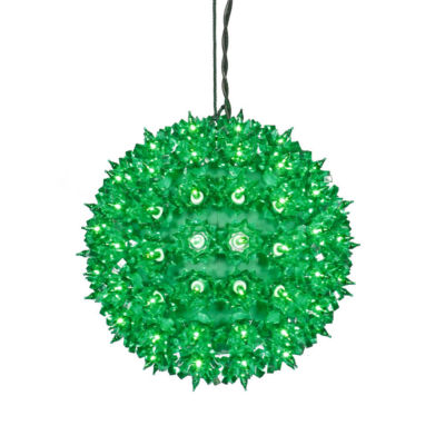 """7.5"""" Green Lighted Twinkling Starlight Sphere Christmas Decoration"""""""