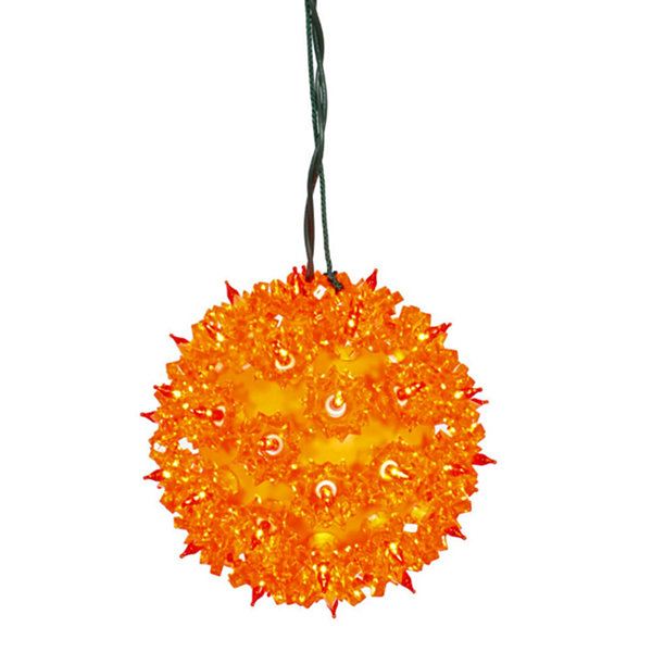 "7.5"" Orange Lighted Twinkling Starlight Sphere Christmas Decoration"""