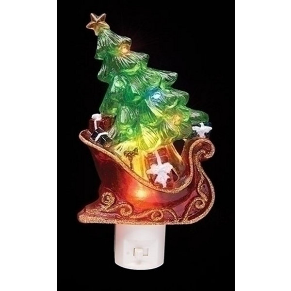 "7.5"" Sleigh with Christmas Tree and Presents Decorative Christmas LED Night Light"""