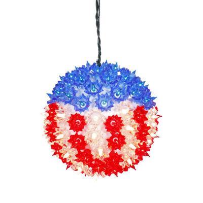 "7.5"" U.S.A. Flag Lighted Hanging Star Sphere Christmas Decoration"""