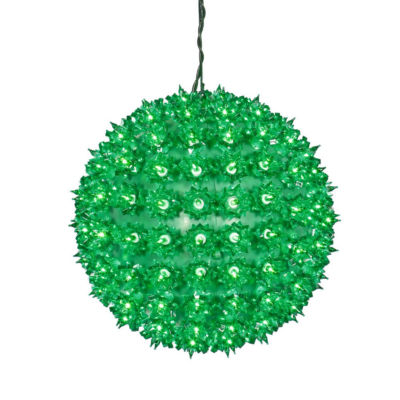 """10"""" Green Lighted Hanging Star Sphere Christmas Decoration"""""""