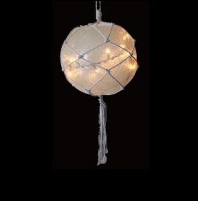 "11.5"" Lighted Roped Off-White Ball Outdoor Christmas Decoration - Clear Lights"""