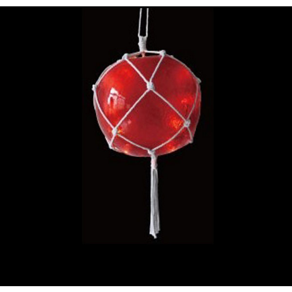 "11.5"" Lighted Roped Red Ball Outdoor Christmas Decoration - Clear Lights"""