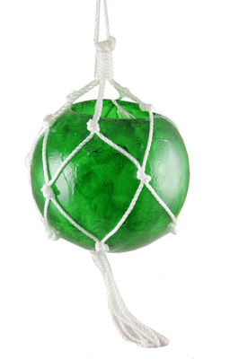 """14.4"""" Lighted Roped Green Ball Outdoor Christmas Decoration - Clear Lights"""""""