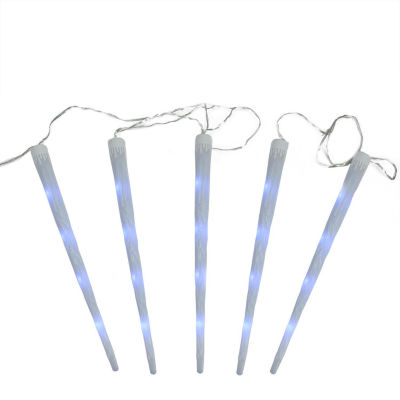 """Set of 5 Multi-Color Dripping Frosted Icicle Snowfall Christmas Light Tubes 19.75"""""""