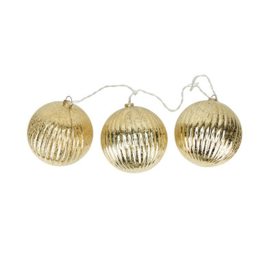 Set of 3 Lighted Gold Mercury Glass Finish RibbedBall Christmas Ornaments - Clear Lights