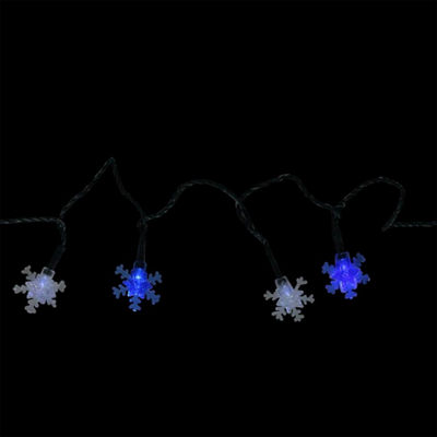 Set of 10 Battery Operated Blue and White Snowflake LED Christmas Lights - Green Wire