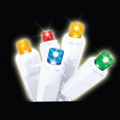 Set of 35 Multi-Color LED Wide Angle Icicle Christmas Lights - White Wire