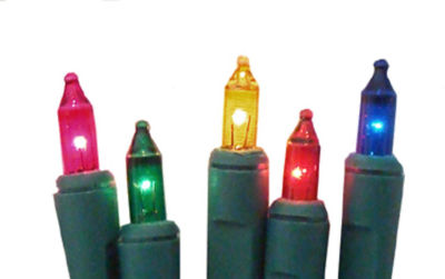 Set of 10 Battery Operated Multi-Color Mini Christmas Lights - Green Wire