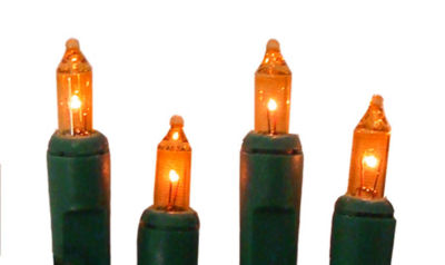 Set of 10 Battery Operated Orange Mini Christmas Lights - Green Wire