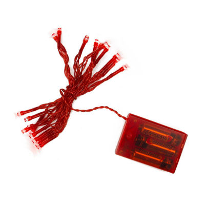 Set of 20 Battery Operated Red LED Wide Angle Christmas Lights - Red Wire