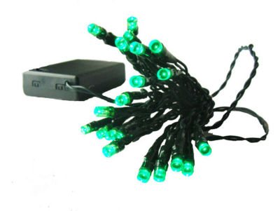 Set of 20 Battery Operated Green LED Wide Angle Christmas Lights - Green Wire