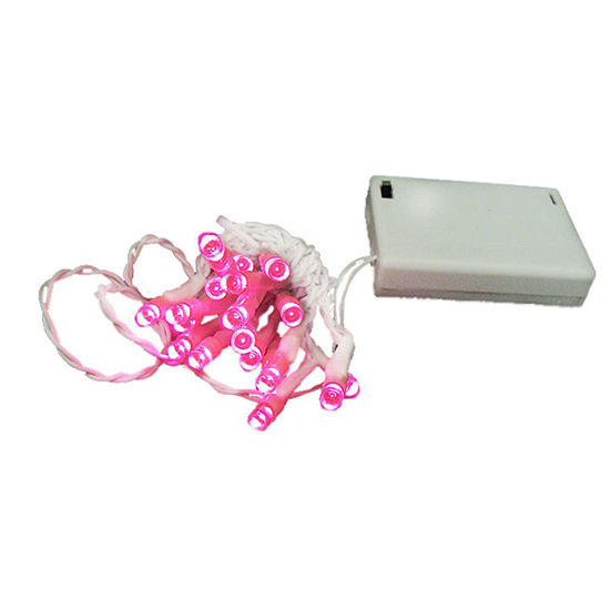 set of 20 battery operated pink led wide angle christmas lights white wire