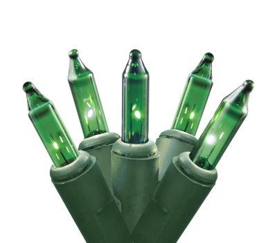 Set of 35 Green Mini Christmas Lights - Green Wire