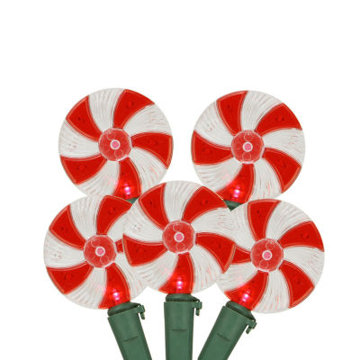 """Set of 20 Peppermint Twist Red and White Candy LED Christmas Lights 4"""" Spacing - Green Wire"""