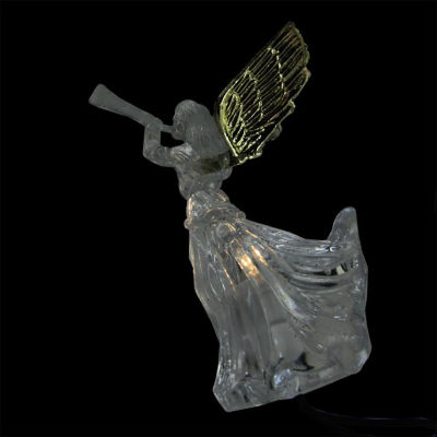 Set of 10 LED Lighted Gold and Clear Trumpeting Angel Christmas Lights