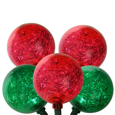 "Set of 10 Red and Green LED Ornament w/ Tinsel Christmas Lights 9.5"" Spacing - Green Wire"""