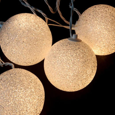 Set of 6 Shimmering White Lighted Twinkling SphereParty Patio Wedding Christmas Lights - White Wire