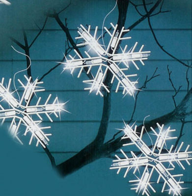 Set of 10 Clear Lighted Twinkling Snowflake IcicleChristmas Lights - White Wire