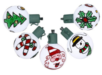 Set of 10 Battery Operated Painted Christmas Traditions LED G50 Lights - Green Wire