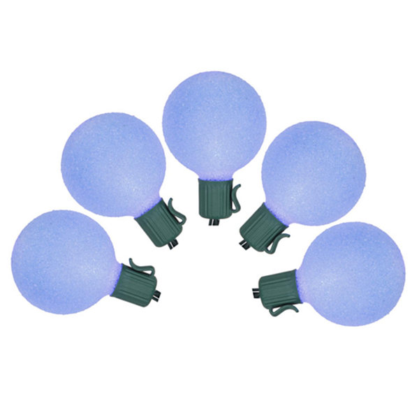 Set of 10 Battery Operated Sugared Blue LED G50 Christmas Lights - Green Wire