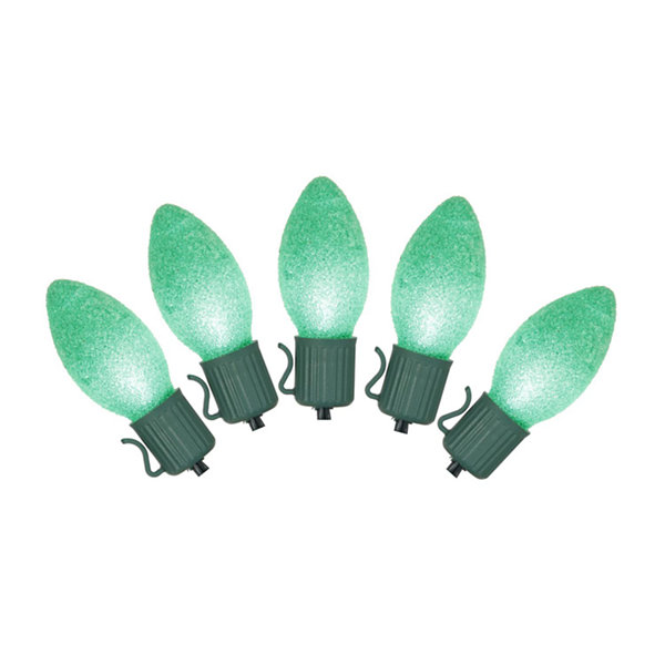 Set of 10 Battery Operated Sugared Green LED C7 Christmas Lights - Green Wire
