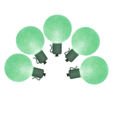 Set of 10 Battery Operated Sugared Green LED G50 Christmas Lights - Green Wire