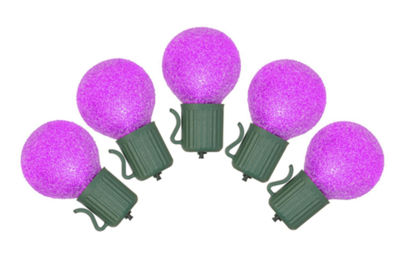 Set of 10 Battery Operated Sugared Purple LED G30Christmas Lights - Green Wire