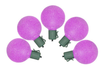 Set of 10 Battery Operated Sugared Purple LED G50 Christmas Lights - Green Wire