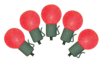 Set of 10 Battery Operated Sugared Red LED G30 Christmas Lights - Green Wire