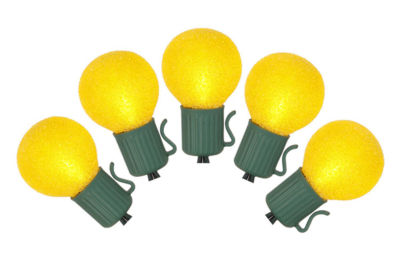 Set of 10 Battery Operated Sugared Yellow LED G30Christmas Lights - Green Wire