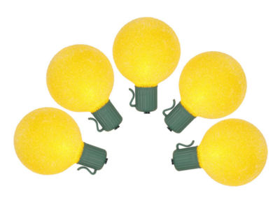 Set of 10 Battery Operated Sugared Yellow LED G50 Christmas Lights - Green Wire