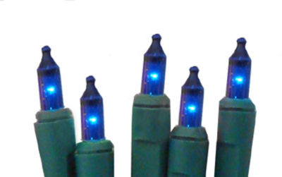 Set of 20 Battery Operated Blue Mini Christmas Lights - Green Wire