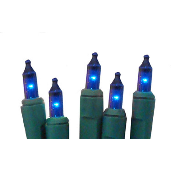 set of 20 battery operated blue mini christmas lights green wire