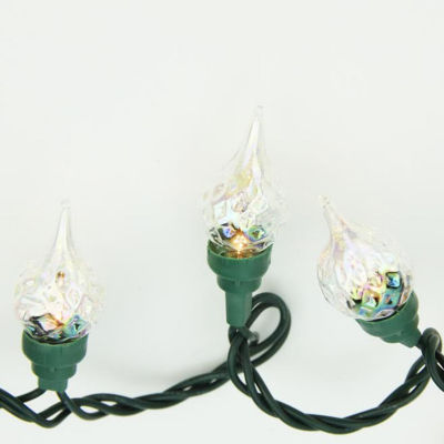 Set of 35 Clear Facted Flame Tip Glass Bulb C5 Christmas Lights - Green Wire