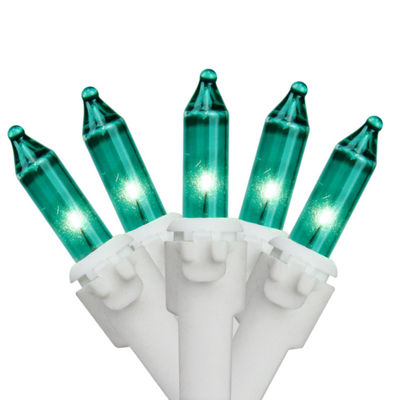 "Set of 50 Teal Green Mini Christmas Lights 2.5"" Spacing - White  Wire"""