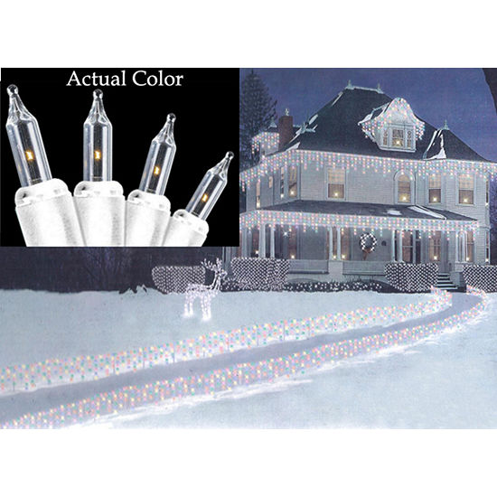 set of 100 super bright clear mini icicle christmas lights white wire