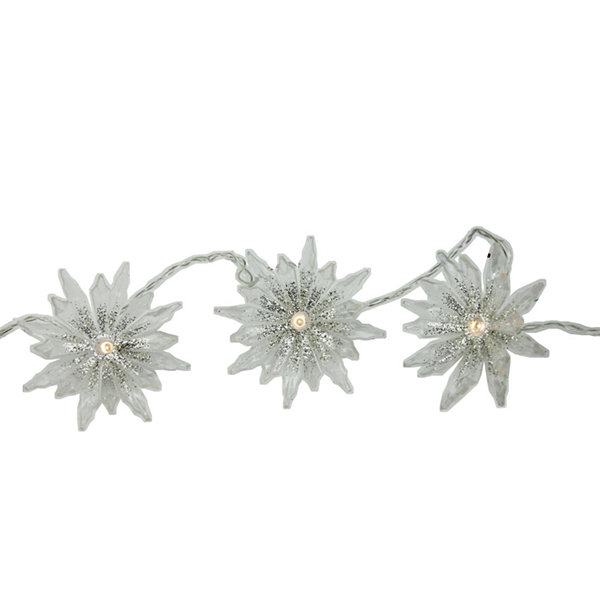 set of 20 battery operated warm clear led chrysanthemum christmas lights clear wire