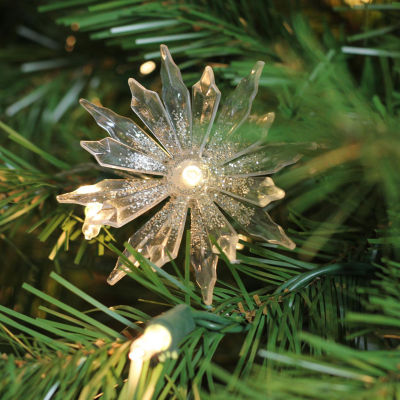 Set of 20 Battery Operated Warm Clear LED Chrysanthemum Christmas Lights - Clear Wire
