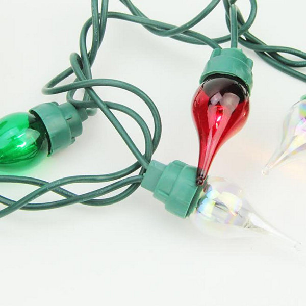 Set of 50 Clear  Red and Green Twinkle Flame Tip Glass Bulb C5 Mini Christmas Lights - Green Wire