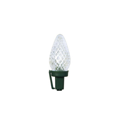 """Set of 50 Pure White Faceted LED C7 Christmas Lights 5"""" Spacing - Green Wire"""""""