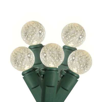 """Set of 35 Warm Clear Commercial Grade LED G12 Berry Christmas Lights 6"""" Spacing - Green Wire"""""""