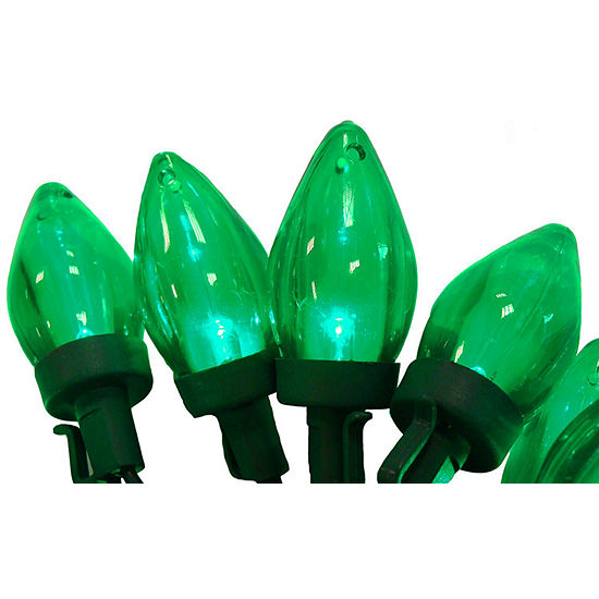 set of 50 transparent green led c7 christmas lights 4 spacing green
